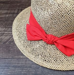 NWT Loft Straw Fedora Red Bow Hat